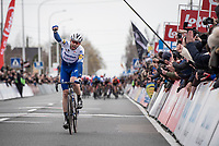 Kasper Asgreen (DEN/Deceuninck - QuickStep) wins the 72nd Kuurne-Brussel-Kuurne 2020 by staying seconds ahead of a chasing/sprinting peloton<br /> <br /> Kuurne to Kuurne (BEL): 201km<br /> <br /> ©kramon