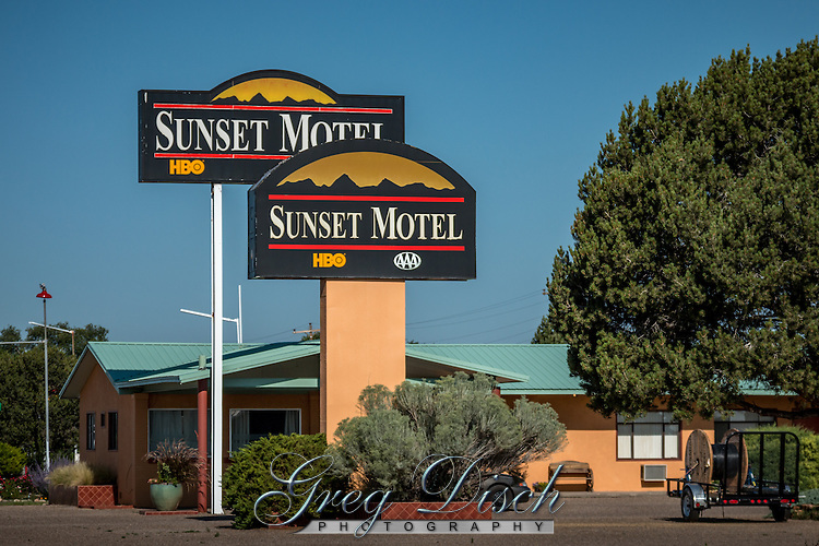 The Sunset Motel on Route 66 in Moriarty New Mexico was built in 5 stages from 1954 to 1969.  The Motel maintains the original look of the 1960's.