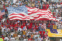 USA Fans with flag, USA 3-2 over Portugal at the World Cup 2002 in Korea, June 5, 2002.