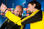 Borussia Dortmund coach Peter Bosz and Neven Subotic during press conference day before UEFA Champions League match between Real Madrid and Borussia Dortmund at Santiago Bernabeu Stadium in Madrid, Spain. December 05, 2017. (ALTERPHOTOS/Borja B.Hojas)