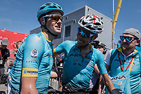Jakob Fuglsang (DEN/Astana) wins the 69th Critérium du Dauphiné 2017 in a thrilling finale and is congratulated by teammate Fabio Arru (ITA/Astana) as it becomes clear he won by only seconds<br /> <br /> Stage 8: Albertville > Plateau de Solaison (115km)