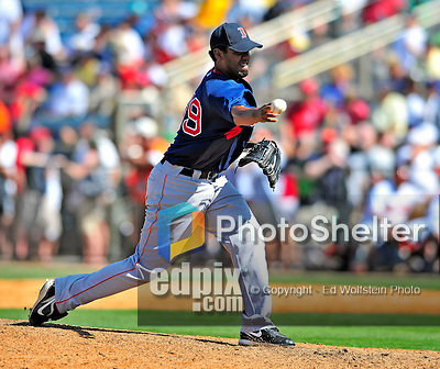 14 March 2009: Boston Red Sox' pitcher Wes Littleton on the mound during a Spring Training game against the Baltimore Orioles at Fort Lauderdale Stadium in Fort Lauderdale, Florida. The Orioles defeated the Red Sox 9-8 in the Grapefruit League matchup. Mandatory Photo Credit: Ed Wolfstein Photo