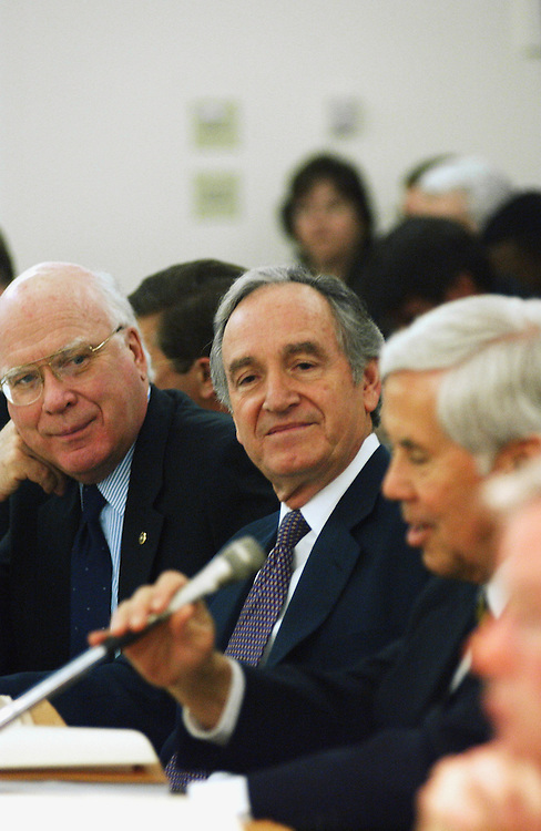 3/13/02.FARM BILL CONFERENCE--Senate Agriculture Chairman Tom Harkin, D-Iowa, middle, listens to ranking Republican Richard G. Lugar, R-Ind., make an opening statement at the beginning of the joint conference on the farm bill. Sen. Patrick J. Leahy, D-Vt., is at left..CONGRESSIONAL QUARTERLY PHOTO BY SCOTT J. FERRELL