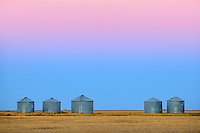 Grain bins at dawn<br /> Moose Jaw<br /> Saskatchewan<br /> Canada