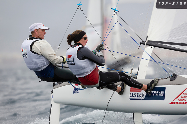 20140402, Palma de Mallorca, Spain: SOFIA TROPHY 2014 - 850 sailors from 50 countries compete at the ISAF Sailing World Cup event. Nacra17 - USA038 - Robert Daniel / Catherine Shanahan. Photo: Mick Anderson/SAILINGPIX.