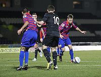 Thomas Reilly sets up his shot to score in the St Mirren v Celtic Clydesdale Bank Scottish Premier League U20 match played at St Mirren Park, Paisley on 18.12.12.