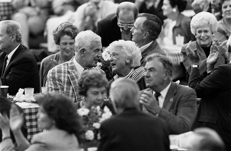 """At the White House Congressional BBQ, Speaker of the House Rep. Thomas Stephen """"Tom"""" Foley, D-Wash talks with a woman. June 4, 1992 (Photo by Maureen Keating/CQ Roll Call)"""