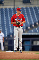 Fort Myers Miracle starting pitcher Tyler Wells (40) gets ready to deliver a pitch during a game against the Tampa Tarpons on May 2, 2018 at George M. Steinbrenner Field in Tampa, Florida.  Fort Myers defeated Tampa 5-0.  (Mike Janes/Four Seam Images)