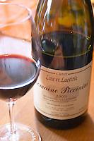 Cuvee Line et Laetitia Minervois la Liviniere. Domaine Piccinini in La Liviniere Minervois. Languedoc. France. Europe. Bottle. Wine glass.