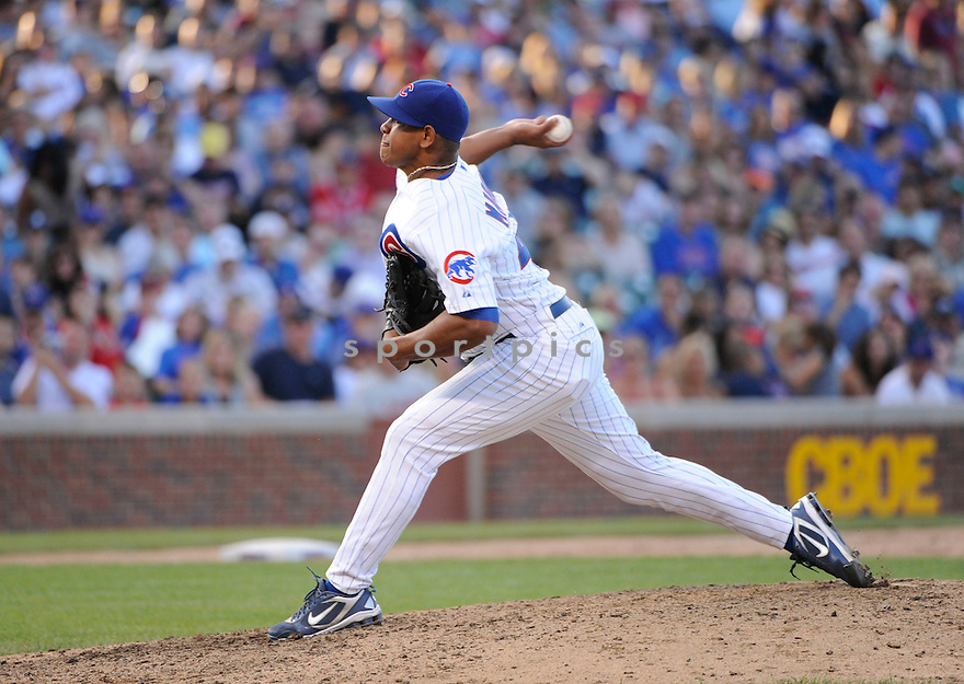 CARLOS MARMOL, of the Chicago Cubs, in action during the Cubs game against the Atlanta Braves at Wrigley Field on August 21, 2010  in Chicago, IL...Cubs beat the Braves 5-4.