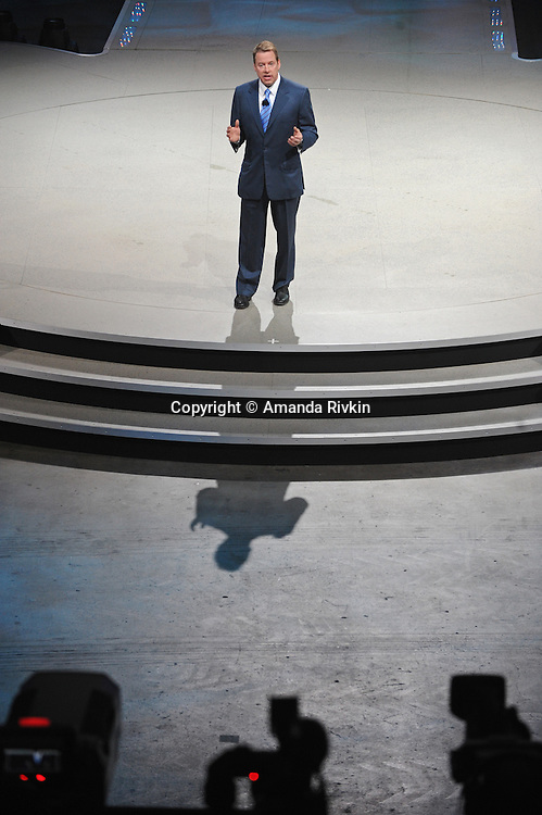 Bill Ford, the Executive Chairman of Ford, delivers a speech during the Ford presentation at the Detroit Auto Show in Detroit, Michigan on January 11, 2009.