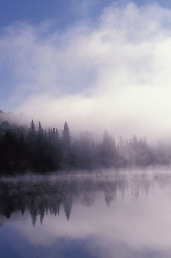 Fog rises from a lake in northern Britsh Columbia,Canada,North America.