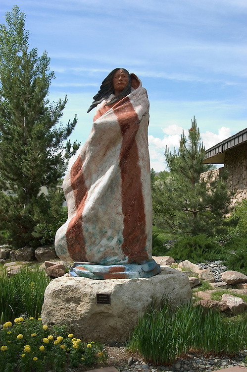 WY: Wyoming, Cody: Sculpture of Sacagawea by Harry Jackson...Photo #: yellow543..Photo copyright Lee Foster, 510/549-2202, lee@fostertravel.com, www.fostertravel.com..