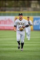 David Fletcher (15) of the Salt Lake Bees on defense against the Sacramento River Cats at Smith's Ballpark on April 19, 2018 in Salt Lake City, Utah. Salt Lake defeated Sacramento 10-7. (Stephen Smith/Four Seam Images)