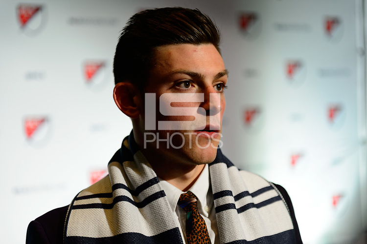 Philadelphia, PA - Friday January 19, 2018: Lucas Stauffer during the 2018 MLS SuperDraft at the Pennsylvania Convention Center.