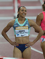 A Happy Jessica ENNIS HILL of GBR (Women's 100m Hurdles) after finishing in a season best time of 12.79 during the Sainsburys Anniversary Games at the Olympic Park, London, England on 24 July 2015. Photo by Andy Rowland.