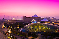 View from Raffles Dubai Hotel with Raffles Botanical Garden below and Wafi City Mall (an Egyptian themed shopping mall) and the skyline in background, Dubai, United Arab Emirates