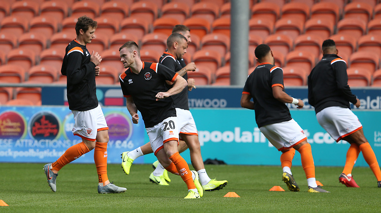 Blackpool players during the pre-match warm-up <br /> <br /> Photographer Stephen White/CameraSport<br /> <br /> The EFL Sky Bet League One - Blackpool v Portsmouth - Saturday 31st August 2019 - Bloomfield Road - Blackpool<br /> <br /> World Copyright © 2019 CameraSport. All rights reserved. 43 Linden Ave. Countesthorpe. Leicester. England. LE8 5PG - Tel: +44 (0) 116 277 4147 - admin@camerasport.com - www.camerasport.com