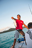 FRENCH POLYNESIA, Tahaa Island. Fishing near the island of Tahaa.