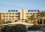 Barcelo Lanzarote hotel sign and buildings, Lanzarote, Canary islands, Spain