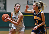 Hallie Simkins #20 of Harborfields, left, gets pressured by Maria Smith #3 of Shoreham-Wading River during the Suffolk County varsity girls basketball Class A semifinals at Harborfields High School in Greenlawn, NY on Tuesday, Feb. 21, 2017.
