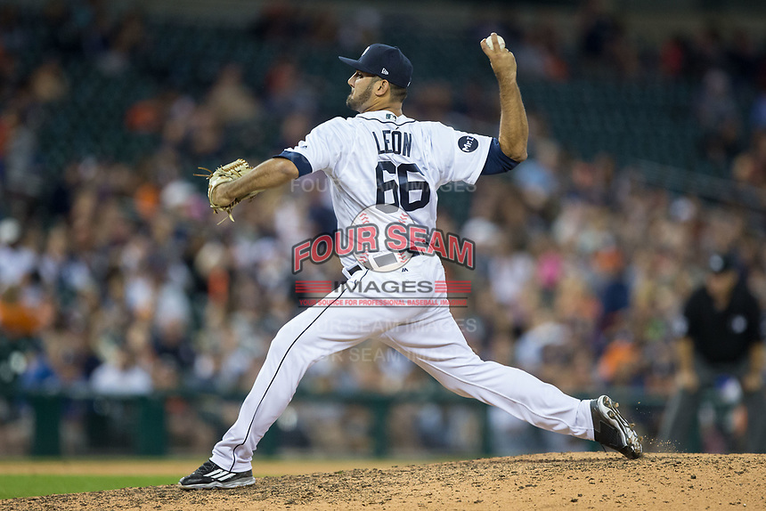 Detroit Tigers relief pitcher Arcenio Leon (66) in action against the Chicago White Sox at Comerica Park on June 2, 2017 in Detroit, Michigan.  The Tigers defeated the White Sox 15-5.  (Brian Westerholt/Four Seam Images)