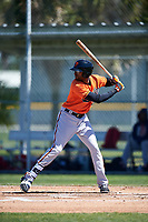 Baltimore Orioles designated hitter Henry Urrutia (23) at bat during a minor league Spring Training game against the Boston Red Sox on March 16, 2017 at the Buck O'Neil Baseball Complex in Sarasota, Florida.  (Mike Janes/Four Seam Images)