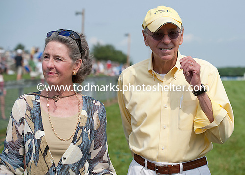 Lauren and Rene Woolcott, owners of Grand Pride, winner of the Delaware Park Hurdle.