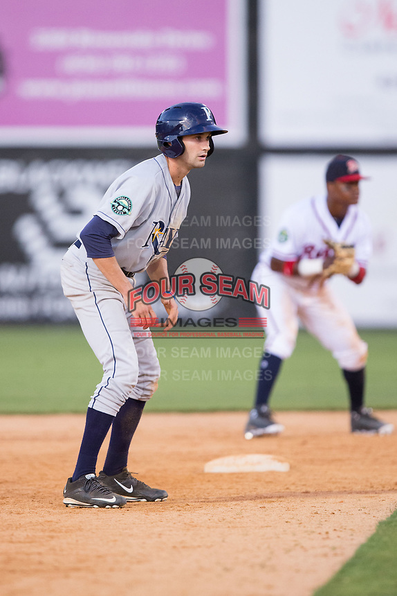 Zach Rutherford (10) of the Princeton Rays takes his lead off of second base against the Danville Braves at American Legion Post 325 Field on June 25, 2017 in Danville, Virginia.  The Braves walked-off the Rays 7-6 in 11 innings.  (Brian Westerholt/Four Seam Images)
