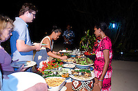 Guests Enjoying Traditional Fijian Dinner Beachside, Turtle Island, Yasawa Islands, Fiji