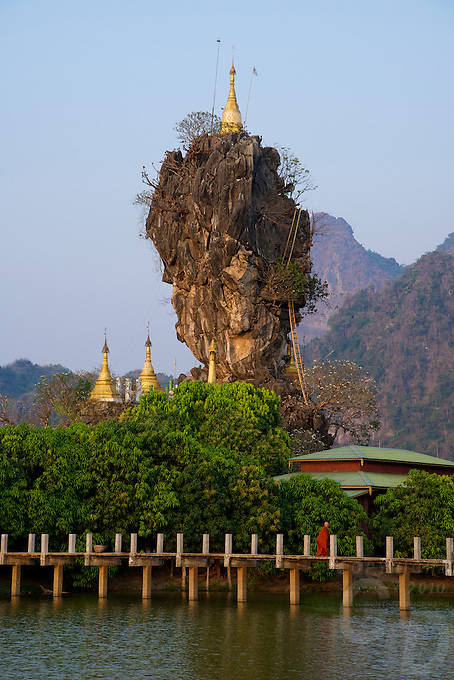 Zwekabin Mountains and the Kyaukkalat Pagoda Hpa An, Myanmar Burma