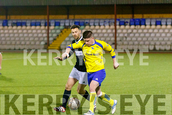 Jack O'Sullivan, Killorglin FC and Padraig Bailey, Windmill Utd contest for the ball when the sides met at the KDL, Mounthawk, Tralee last Friday night.