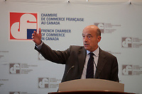 September 5, 2012 - Montreal (Quebec) CANADA - Alain Juppe, Mayor of  Bordeaux, FRANCE and former French Prime-Minister speak in front of the French Chamber of Commerce in Canada.