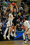 SALEM, VA - MARCH 17: Nebraska Wesleyan Prairie Wolves guard Nate Schimonitz (10) shoots a 3 point basket over Wisconsin-Oshkosh Titans guard Ben Boots (2) during the Division III Men's Basketball Championship held at the Salem Civic Center on March 17, 2018 in Salem, Virginia. Nebraska Wesleyen defeated Wisconsin-Oshkosh 78-72 for the national title. (Photo by Andres Alonso/NCAA Photos/NCAA Photos via Getty Images)