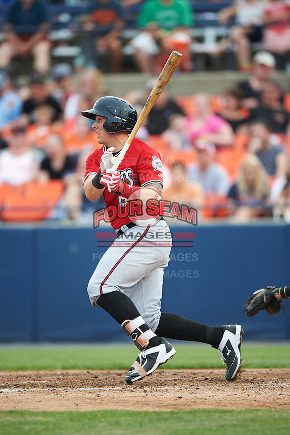 Carolina Mudcats catcher Joseph Odom (6) at bat during a game against the Frederick Keys on June 4, 2016 at Nymeo Field at Harry Grove Stadium in Frederick, Maryland.  Frederick defeated Carolina 5-4 in eleven innings.  (Mike Janes/Four Seam Images)