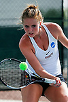 SURPRISE, AZ - MAY 11: Hannah Seizer of the Barry Buccaneers returns a ball against Jordana Lujan of the West Florida Argonauts during the Division II Women's Tennis Championship held at the Surprise Tennis & Racquet Club on May 11, 2018 in Surprise, Arizona. (Photo by Jack Dempsey/NCAA Photos via Getty Images)