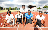 Haringey athletes pose for a picture with their coach. From L to R : Rachel Telfer, Luke Fagan, Darlan Clark (coach) David Telfer and Torema Thompson..New River Stadium, July 12, 2010.