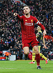 Jordan Henderson of Liverpool celebrates scoring the second goal of the game during the Premier League match at Anfield, Liverpool. Picture date: 1st February 2020. Picture credit should read: James Wilson/Sportimage