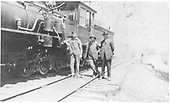 Side view of engine showing air pumps and train crew.<br /> D&amp;RG  Cimarron, CO  Taken by Price, Earl - ca. 1900