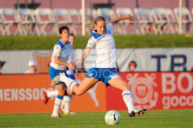 Leslie Osborne (12) of the Boston Breakers. Sky Blue FC defeated the Boston Breakers 2-1 during a Women's Professional Soccer (WPS) match at Yurcak Field in Piscataway, NJ, on May 28, 2011.