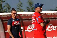 Maurizio Sarri  Marek Hamsik  <br /> ritiro precampionato Napoli Calcio a  Dimaro 11 Luglio 2015<br /> <br /> Preseason summer training of Italy soccer team  SSC Napoli  in Dimaro Italy July 11, 2015