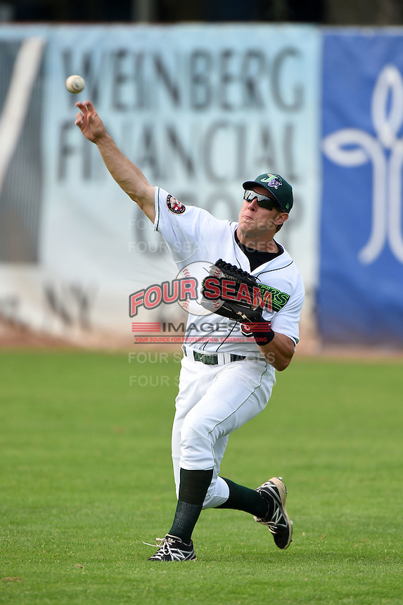 Jamestown Jammers outfielder Michael Suchy (35) during practice before a game against the Vermont Lake Monsters on July 12, 2014 at Russell Diethrick Park in Jamestown, New York.  Jamestown defeated Vermont 3-2.  (Mike Janes/Four Seam Images)