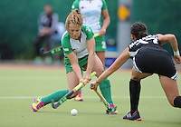 23 June 2013;  Anna O'Flanagan, Ireland, in action against Sara McManus, Canada. Electric Ireland Senior Women's International Friendly, Ireland v Canada, Belfield, Dublin. Picture credit: Tommy Grealy/Actionshots.ie