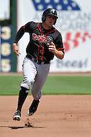 Matt Dean #30 of the Lansing Lugnuts runs to third base against the Burlington Bees at Community Field on July 27, 2014 in Burlington, Iowa. The Lugnuts won 3-2.   (Dennis Hubbard/Four Seam Images)