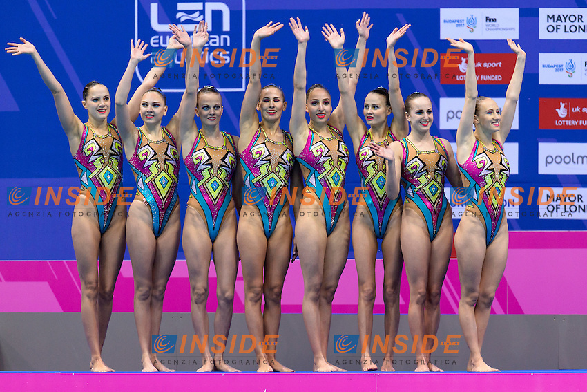 Team RUSSIA Gold Medal <br /> KOLESNICHENKO Svetlana, PATSKEVICH Aleksandra, <br /> SHISHKINA Alla, SHUROCHKINA Maria, CHIGIREVA Vlada,  TOPILINA Gelena, PROKOFYEVA Elena, GOLIADKINA Marina<br /> Team Technical Final <br /> London, Queen Elizabeth II Olympic Park Pool <br /> LEN 2016 European Aquatics Elite Championships <br /> Synchronized Swimming <br /> Day 01 09-05-2016<br /> Photo Andrea Staccioli/Deepbluemedia/Insidefoto