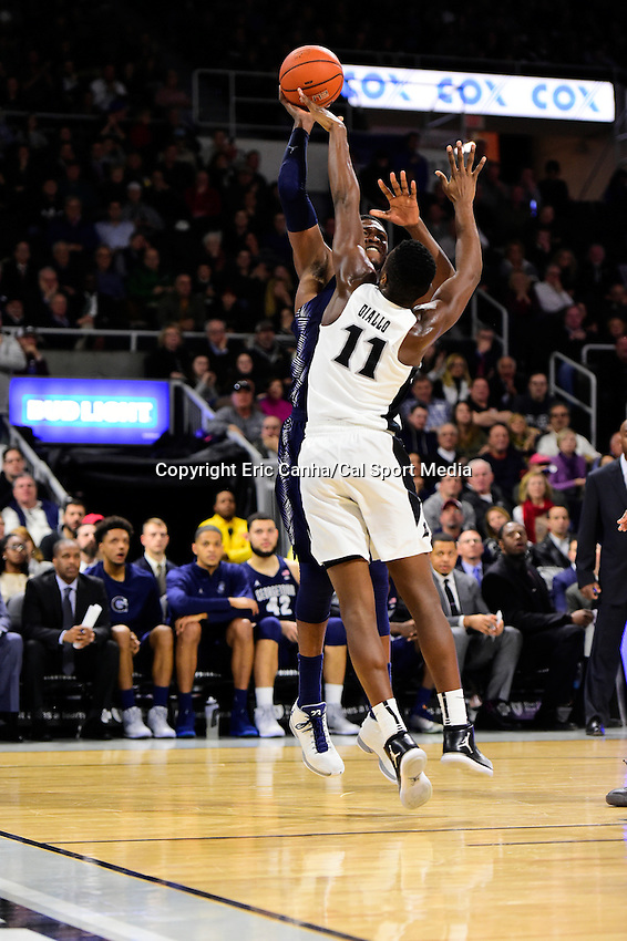 Wednesday, January 4, 2016: Providence Friars guard Alpha Diallo (11) blocks Georgetown Hoyas forward Marcus Derrickson (24) during the NCAA basketball game between the Georgetown Hoyas and the Providence Friars held at the Dunkin Donuts Center, in Providence, Rhode Island. Providence defeats Georgetown 76-70 in regulation time. Eric Canha/CSM