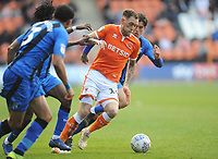Blackpool's Harry Pritchard under pressure from Gillingham's Darren Oldaker<br /> <br /> Photographer Kevin Barnes/CameraSport<br /> <br /> The EFL Sky Bet League One - Blackpool v Gillingham - Saturday 4th May 2019 - Bloomfield Road - Blackpool<br /> <br /> World Copyright © 2019 CameraSport. All rights reserved. 43 Linden Ave. Countesthorpe. Leicester. England. LE8 5PG - Tel: +44 (0) 116 277 4147 - admin@camerasport.com - www.camerasport.com
