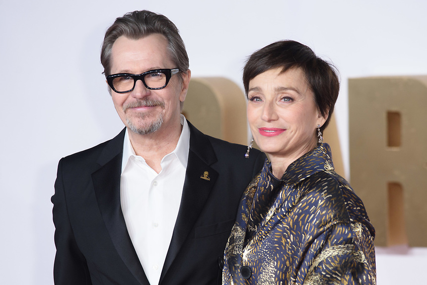 """Gary Oldman and Kristin Scott Thomas<br /> arriving for the """"Darkest Hour"""" premiere at the Odeon Leicester Square, London<br /> <br /> <br /> ©Ash Knotek  D3361  11/12/2017"""