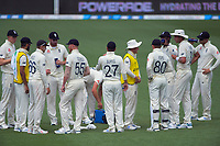 The England team stop for drinks during day five of the international cricket 2nd test match between NZ Black Caps and England at Seddon Park in Hamilton, New Zealand on Tuesday, 3 December 2019. Photo: Dave Lintott / lintottphoto.co.nz