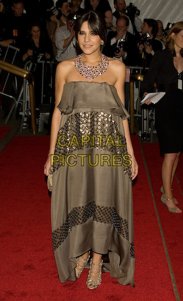 """MARGHERITA MISSONI.Costume Institute Gala - """"Superheroes: Fashion and Fantasy"""" at The Metropolitan Museum of Art, New York, NY, USA..May 5th, 2008 .full length brown strapless sequins sequined gold dress necklace .CAP/LNC/TOM.©TOM/LNC/Capital Pictures."""